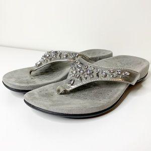 Vionic jeweled orthopedic flip flop sandals